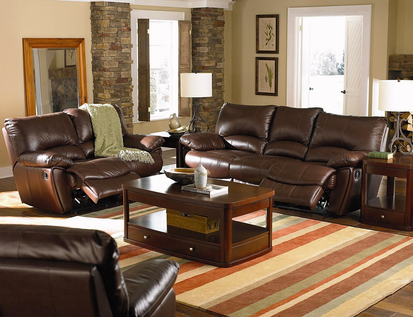 Leather Furniture Traveler Collection: Clifford Brown Genuine Leather Reclining Sofa & Loveseat