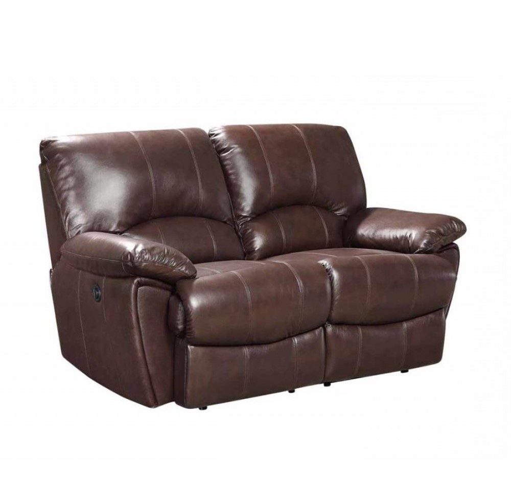 Clifford dual power reclining brown top grain leather loveseat Power loveseat recliner