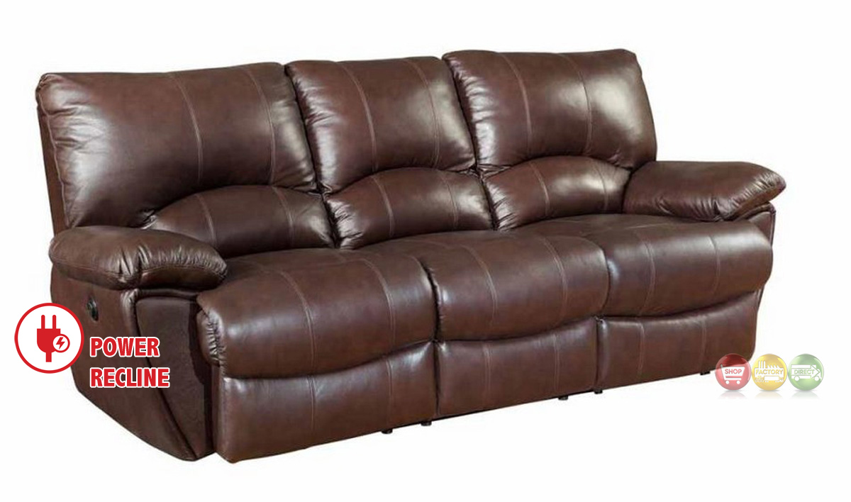 Clifford Dual Power Reclining Brown Top Grain Leather Sofa