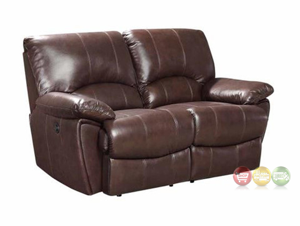 Clifford dual reclining brown top grain leather motion loveseat 600282 Leather reclining loveseat