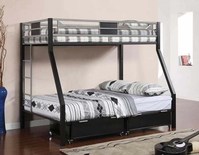 Clifton IV Contemporary Silver and Black Bunk Bed