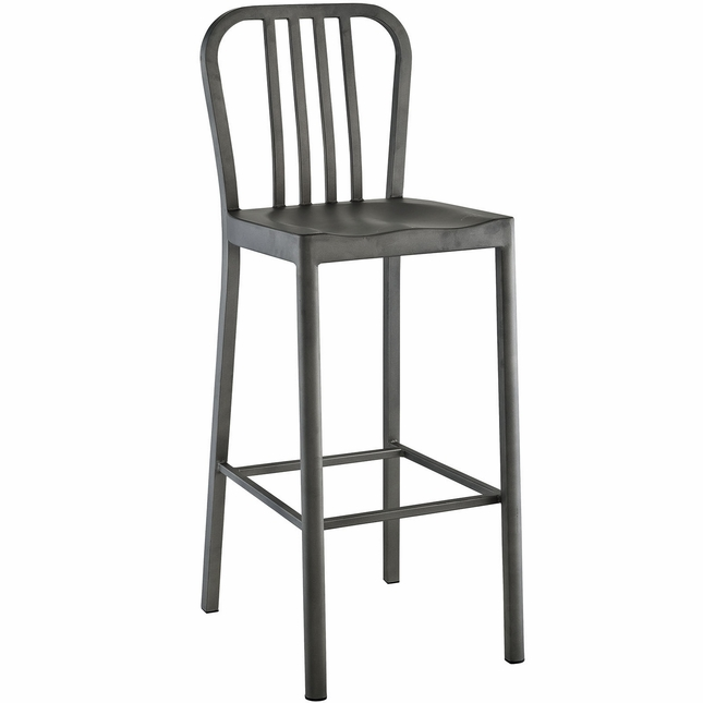 Clink Industrial Bar Stool With Brushed Steel Finish, Silver