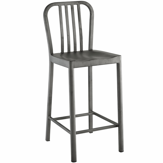 Clink Industrial Counter Height Stool With Brushed Steel Finish, Silver