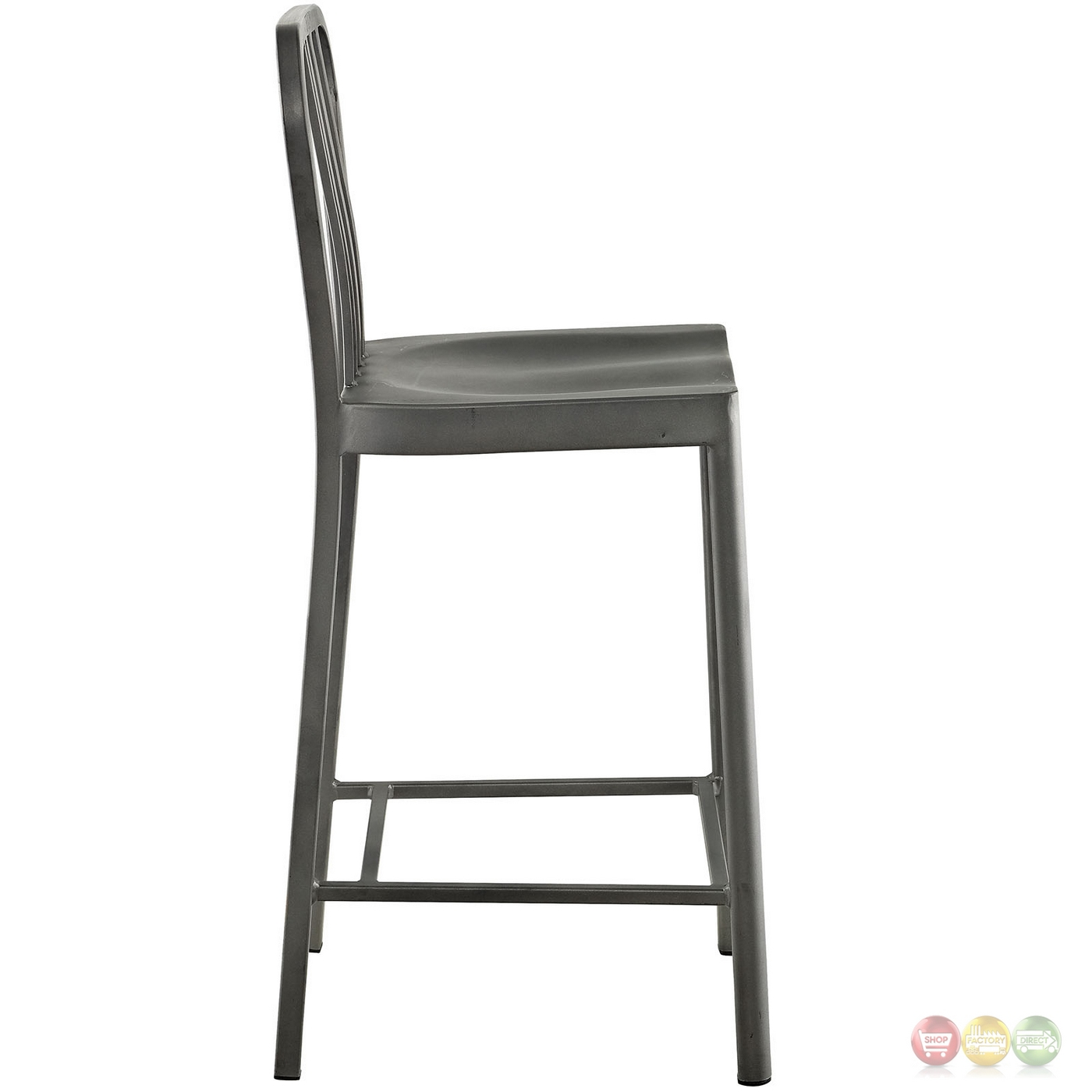 Clink Industrial Counter Height Stool With Brushed Steel