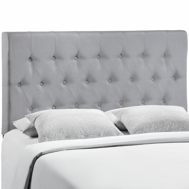 Clique Casual Button-tufted Upholstered King Headboard, Sky Gray