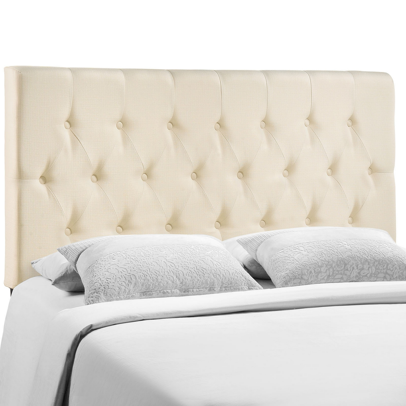 Clique Casual Button Tufted Upholstered Queen Headboard Ivory