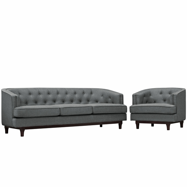 Mid-Century Modern Coast 2-pc Sofa & Armchair Living Room Set, Gray