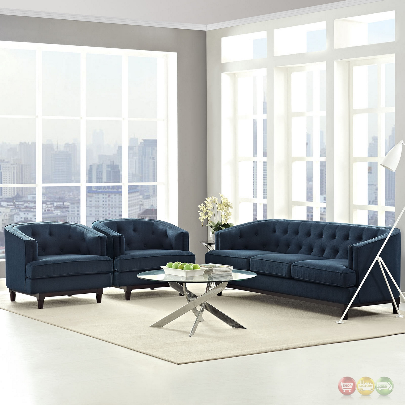 Coast Modern 3 Pc Upholstered Sofa Armchairs Living Room Set Azure
