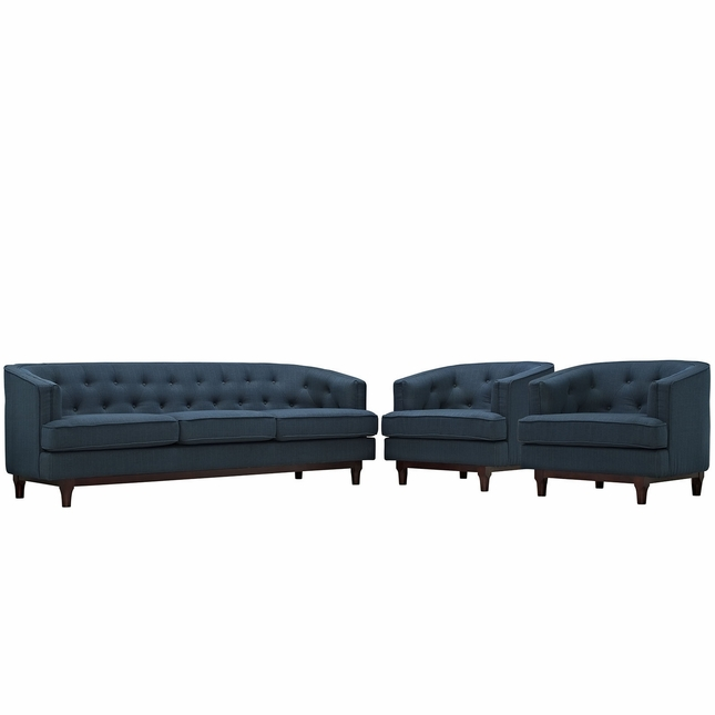 Mid-Century Modern Coast 3-pc Sofa & Armchairs Living Room Set, Azure