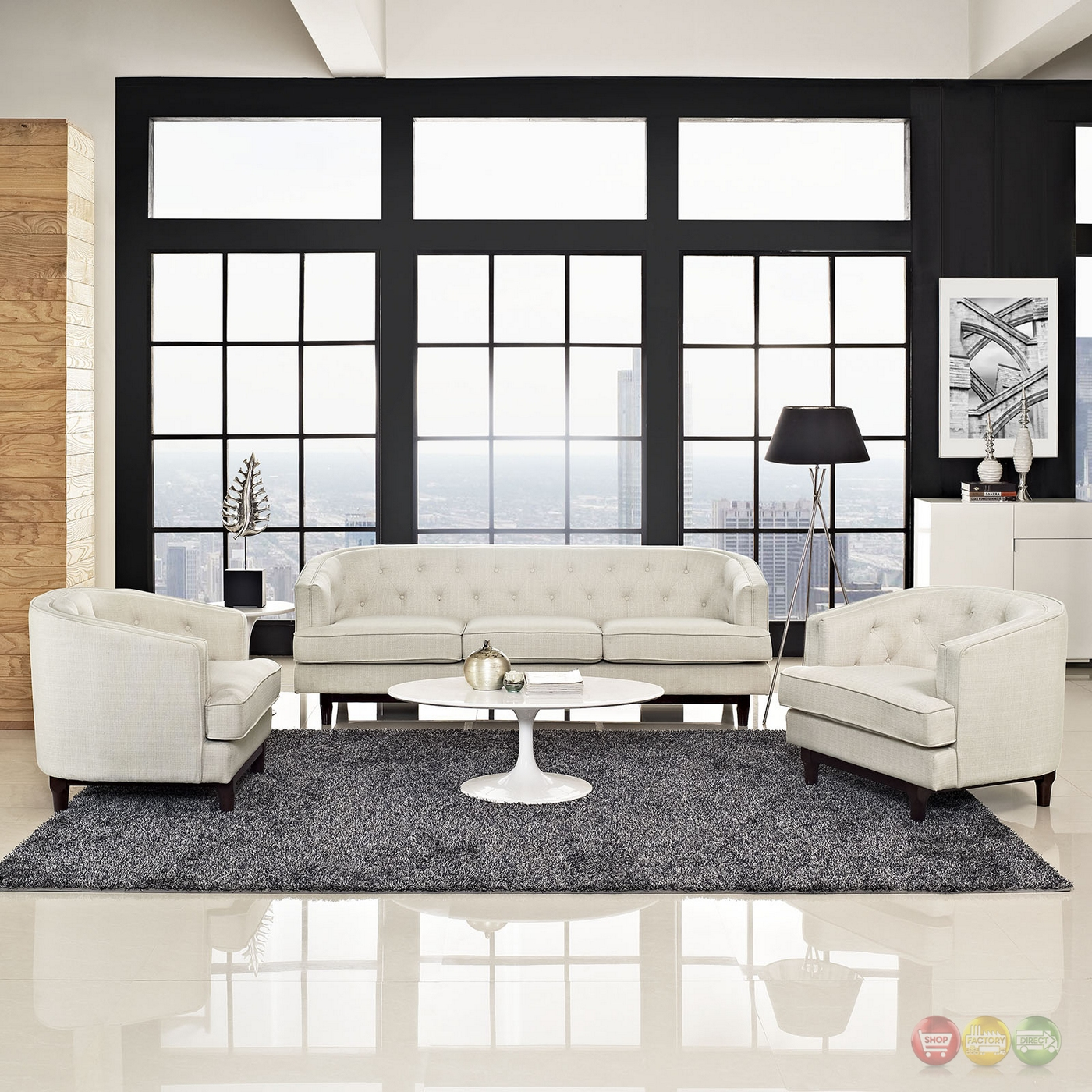 Coast modern 3 pc upholstered sofa armchairs living room for Modern armchairs for living room