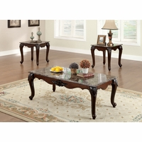 Colchester Traditional Dark Cherry Accent Tables with Faux Marble Table Top
