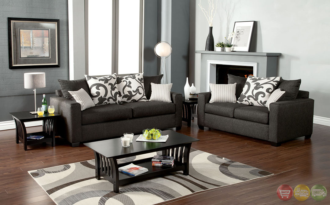 Colebrook contemporary medium gray living room set with for Modern living room sets