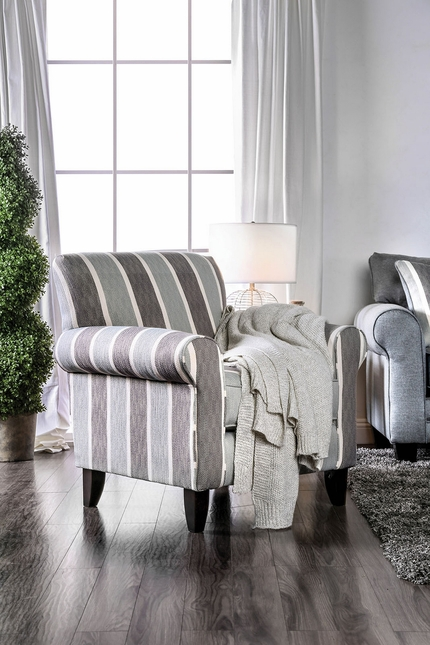 Awe Inspiring Colette Transitional Blue Grey Striped High Back Accent Pabps2019 Chair Design Images Pabps2019Com