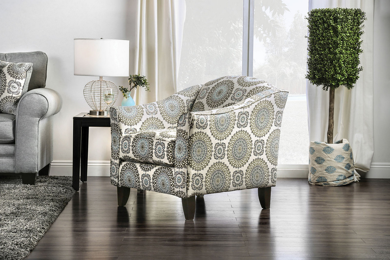 Colette Transitional Floral Low Back Accent Chair With Tapered Wood Legs