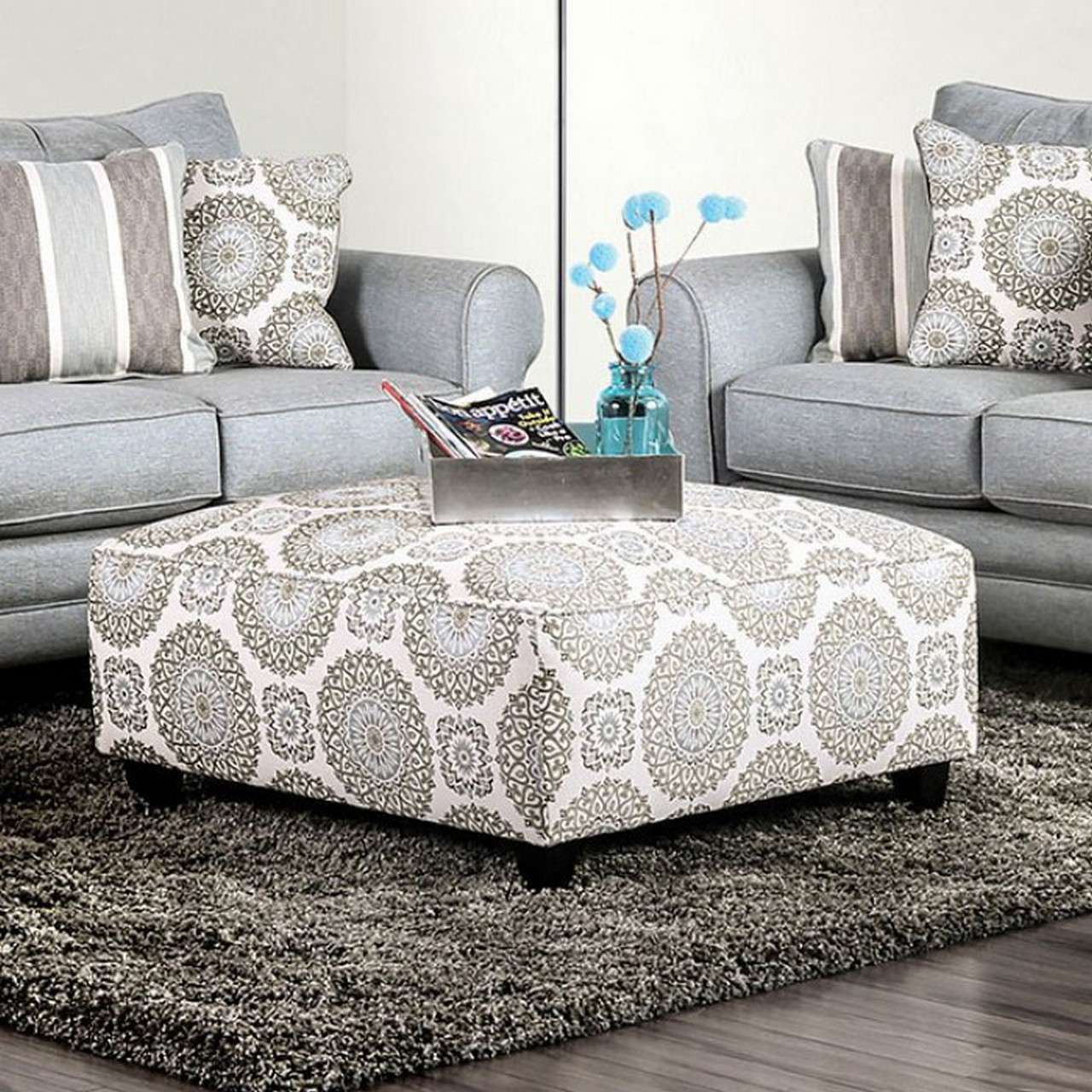 Colette Transitional Loose Back Blue Fabric Sofa Set With