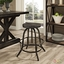 Collect Industrial Modern Wooden Bar Stool With Cast Iron Base, Black