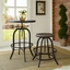 Collect Industrial Modern Wooden Bar Stool With Cast Iron Base, Brown