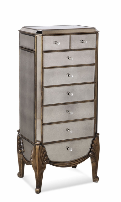 Collette Hollywood Glam Mirrored Jewelry Chest Armoire Box ...