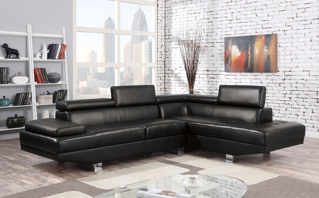 Collin Modern Adjustable Sectional Sofa w/ Chaise in Black Bonded Leather