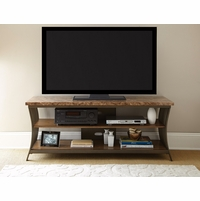 """Collison Contemporary 60"""" Brown Faux Marble TV Stand With Metal Frame"""