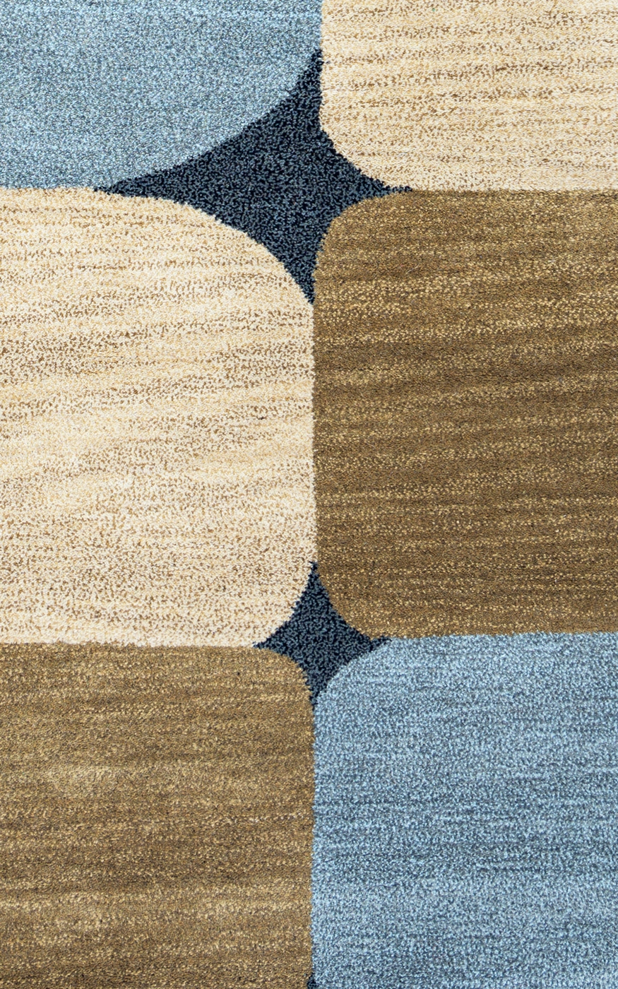 Colours Abstract Spots New Zealand Wool Area Rug In Blue