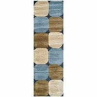 """Rizzy Soft New Zealand Wool Runner Area Rug 2'6""""x 8'Blue Navy White Tan Abstract"""