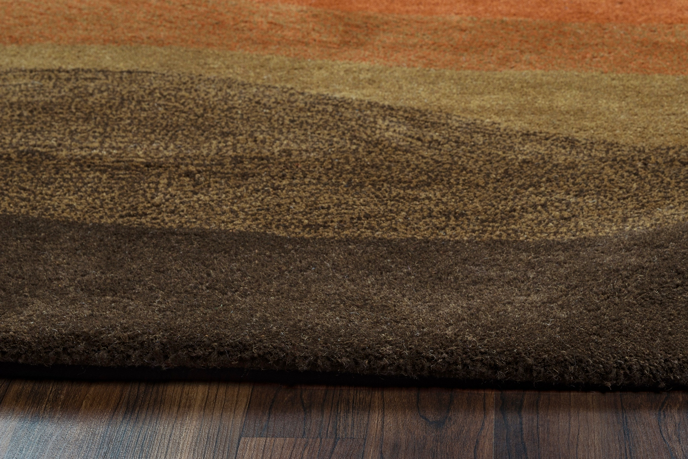 Colours Abstract Striped Hand Tufted Runner Rug In Olive