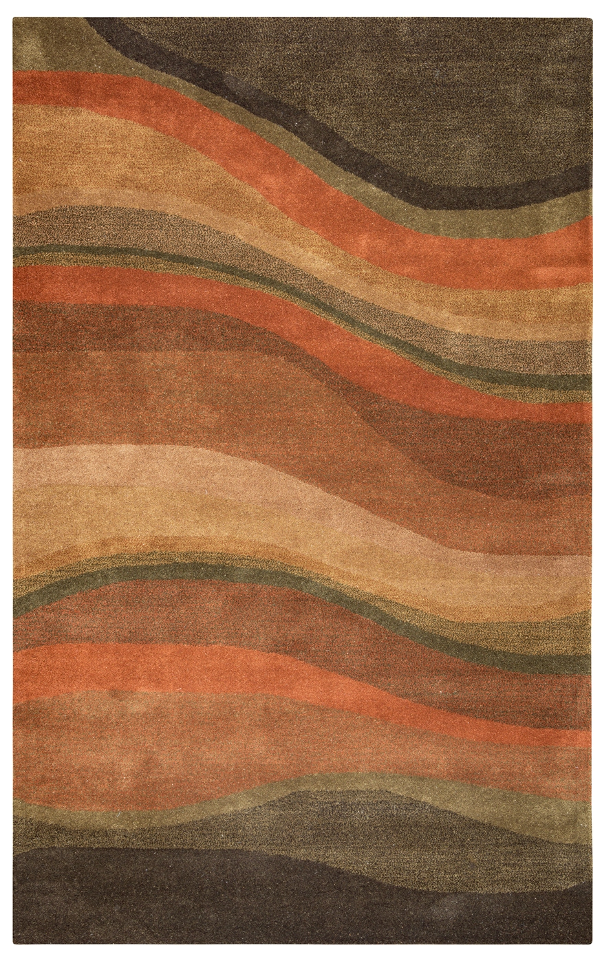 Colours Abstract Striped Hand Tufted Area Rug In Olive