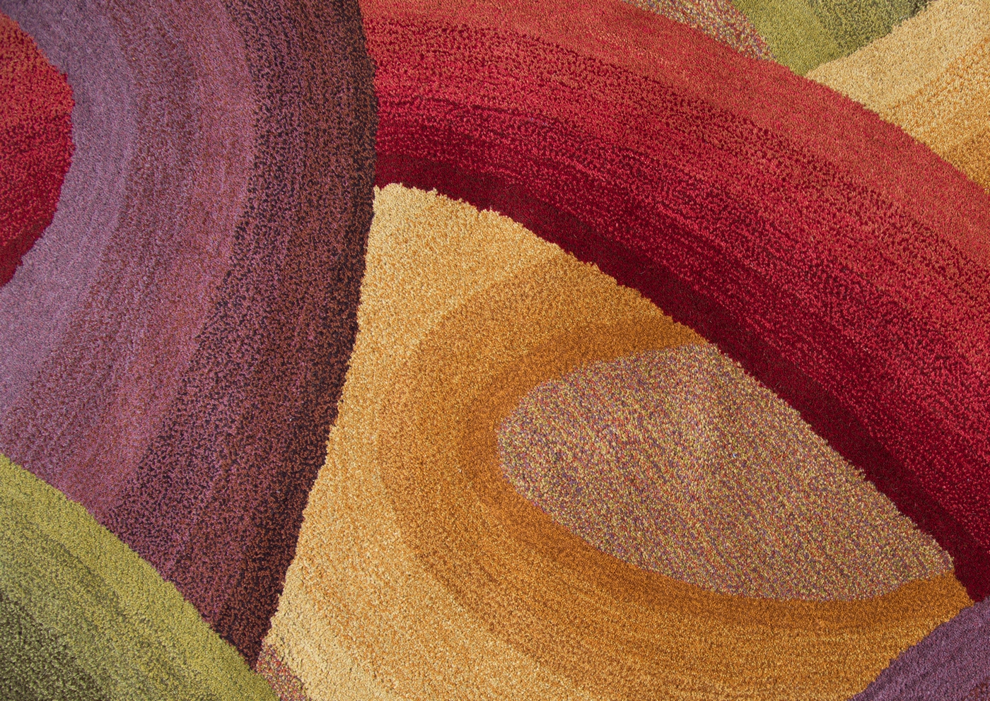 Colours Abstract Swirl Wool Area Rug In Purple Yellow