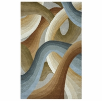 """Colours Soft New Zealand Wool Runner Area Rug 2'6""""x 8' Tan White Blue Abstract"""
