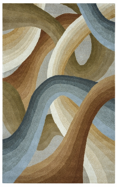 Colours Abstract Swirl Wool Area Rug In Tan Green Blue Brown 5 X 8