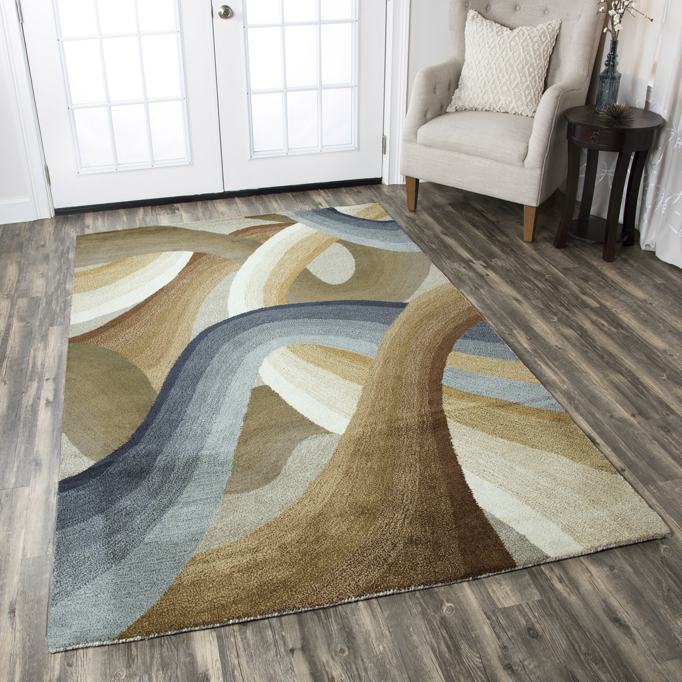 Colours Abstract Swirl Wool Area Rug In Tan Green Blue