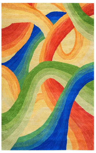 Colours Abstract Swirl Wool Area Rug In Yellow Blue Green