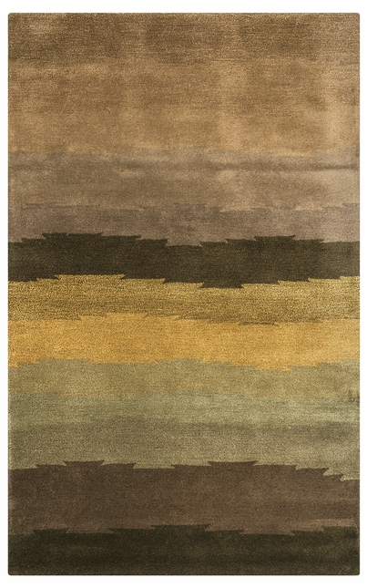 Wool Area Rug In Brown Gold Olive