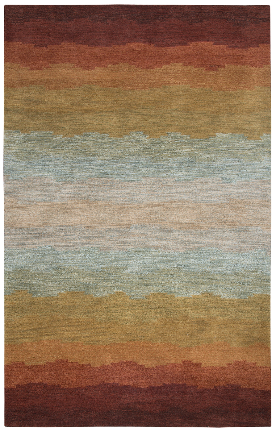 Colours Striped Pastel Pattern Wool Area Rug In Red Orange