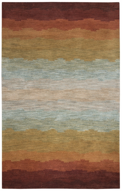 Colours Striped Pastel Pattern Wool Area Rug In Red Orange Grey 3