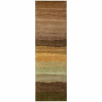 """Soft New Zealand Wool Runner Area Rug 2'6""""x 8'Brown Tan Gold Olive Green Striped"""