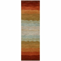 """Rizzy Soft New Zealand Wool Runner Area Rug 2'6""""x 8'Red Orange Gold Grey Striped"""