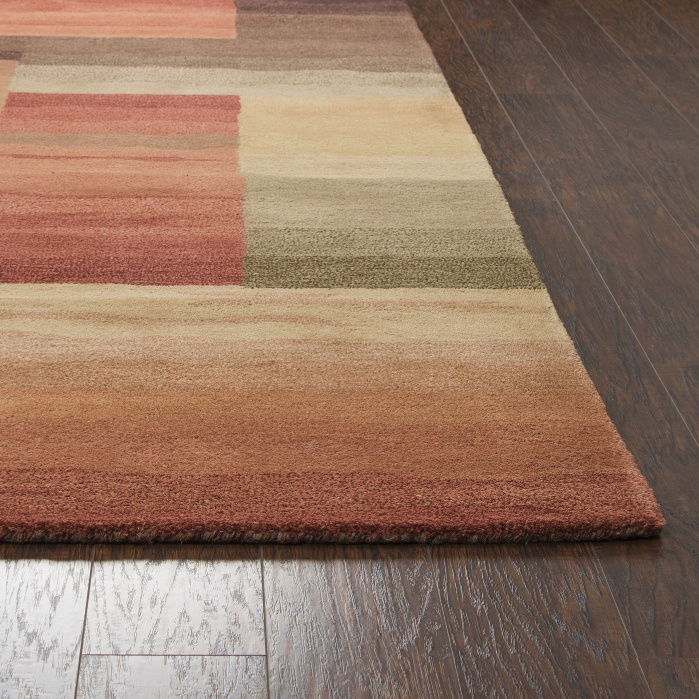 Colours Watercolor Block Wool Area Rug In Beige Red Grey