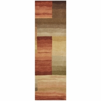 """Colours Soft New Zealand Wool Runner Area Rug 2'6""""x 8'Red Tan White Purple Block"""