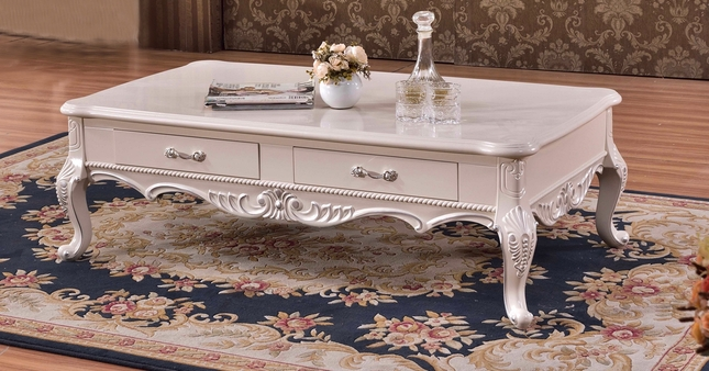 Colton Casual Hand Carved Wooden Drawer Coffee Table In Pearl White - Colton coffee table