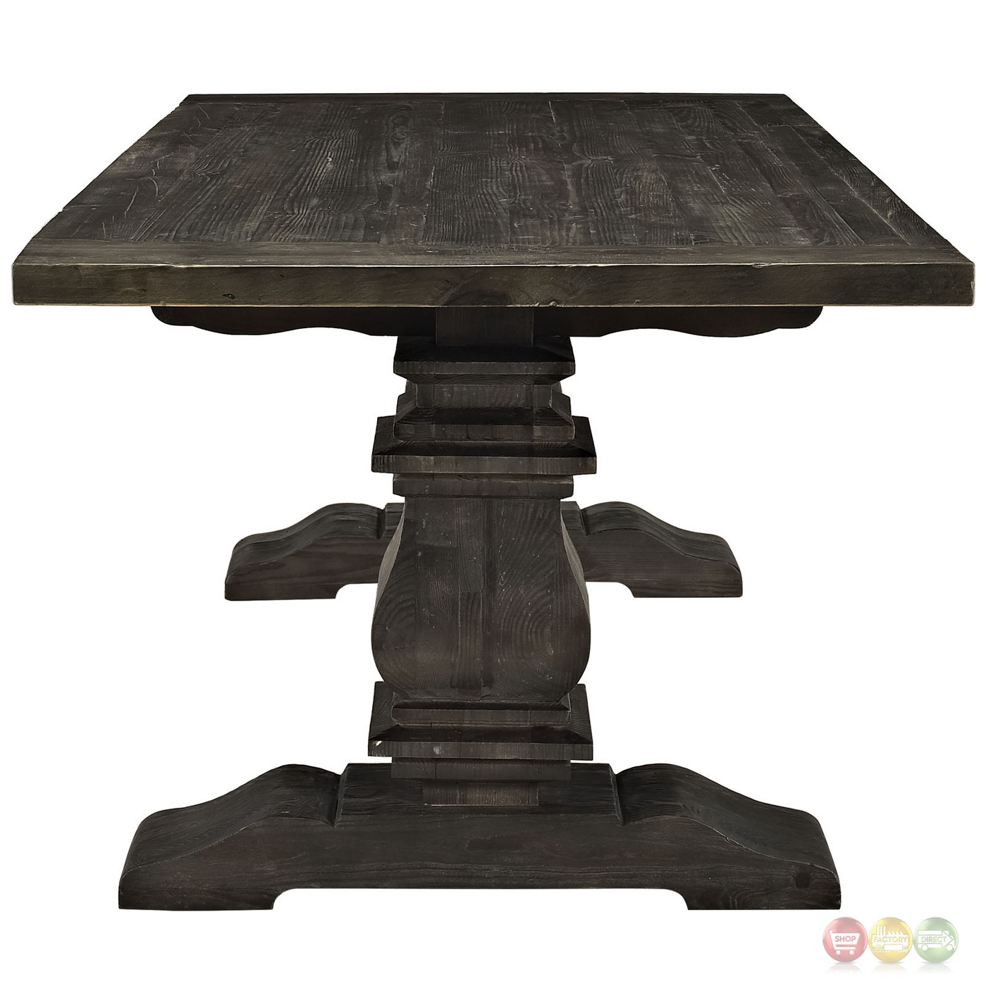 Column modern rustic 79 solid pine wood dining table black for Black wood dining table