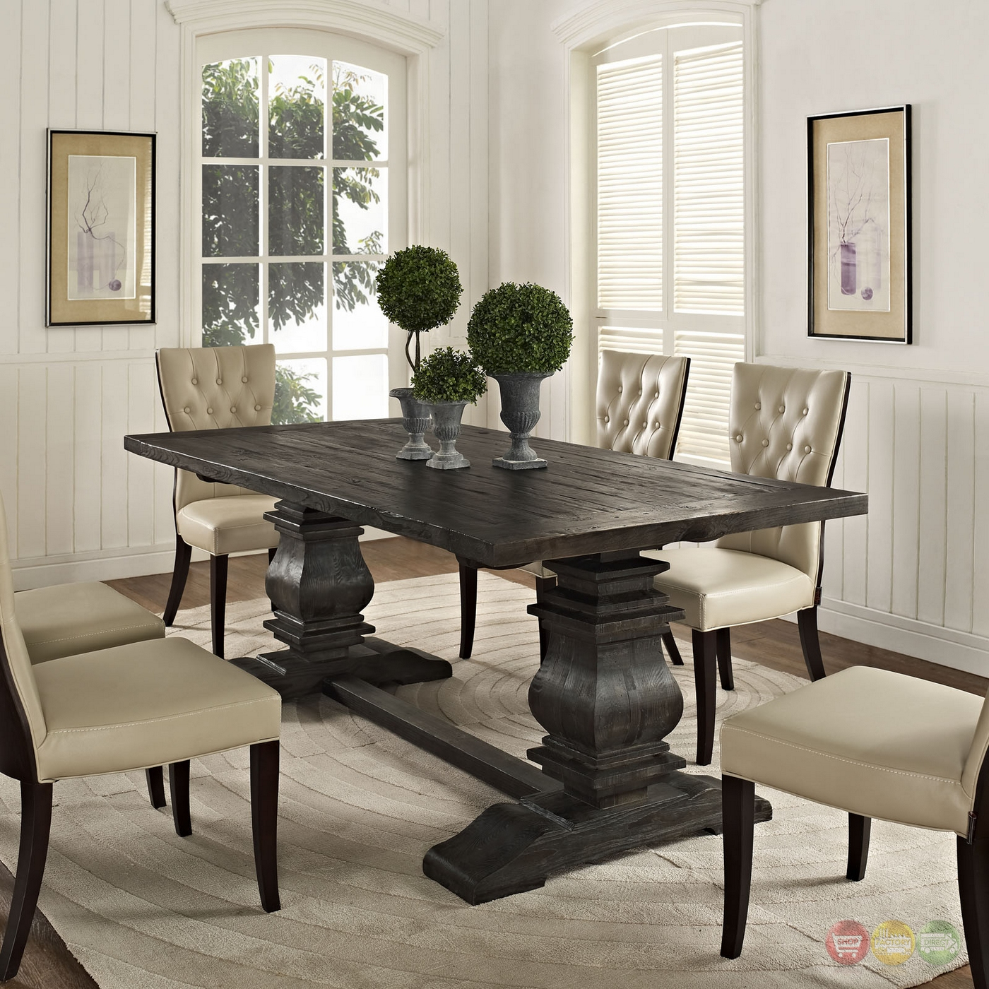 """Dining Wood Table: Column Modern Rustic 79"""" Solid Pine Wood Dining Table, Black"""