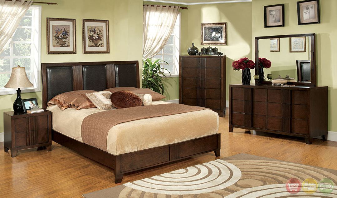 Colwood Contemporary Brown Cherry Bedroom Set With Leatherette Headboard Cm7064