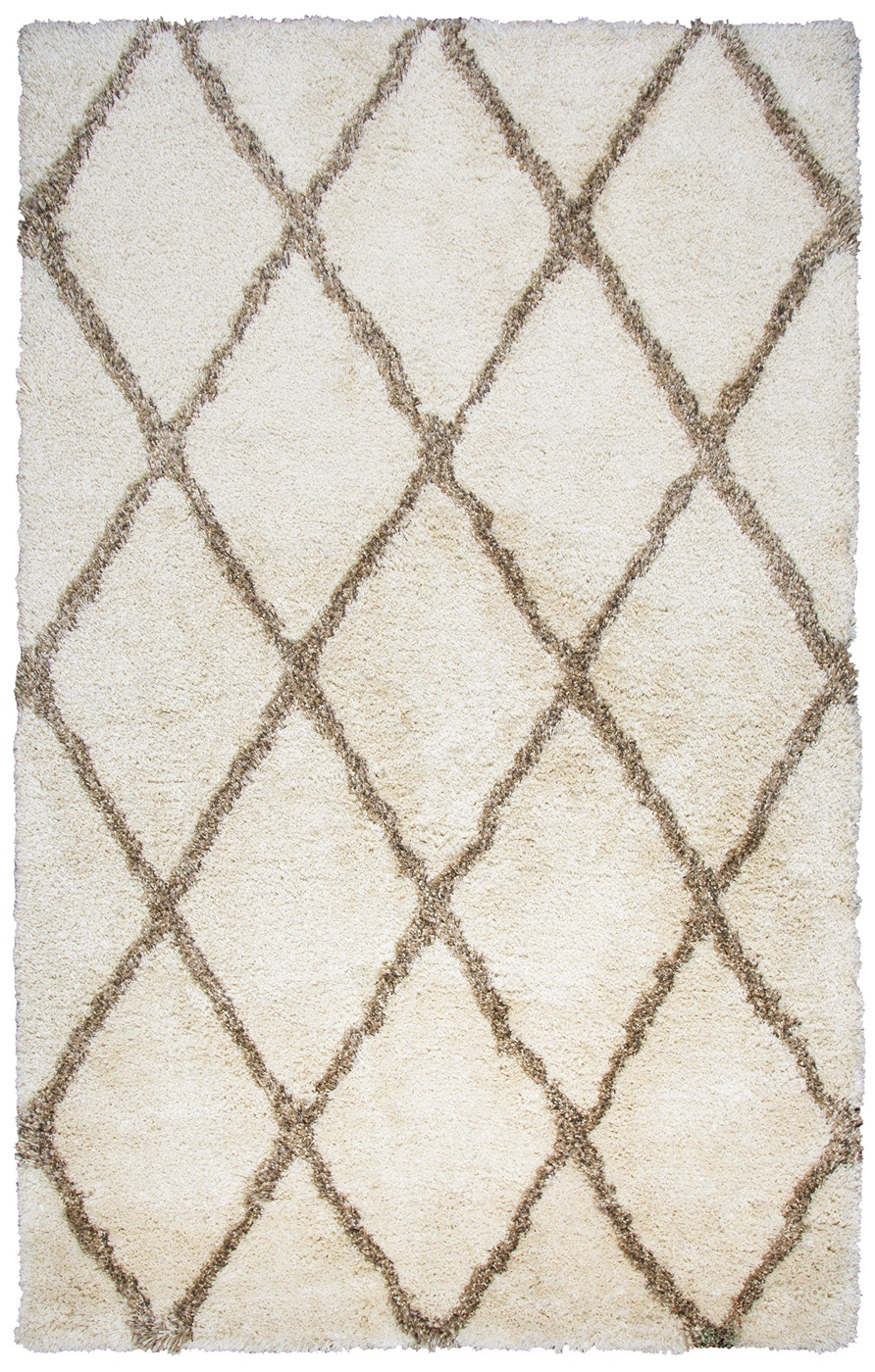 Commons Diamond Pattern Area Rug In Ivory Amp Brown 8 X 10