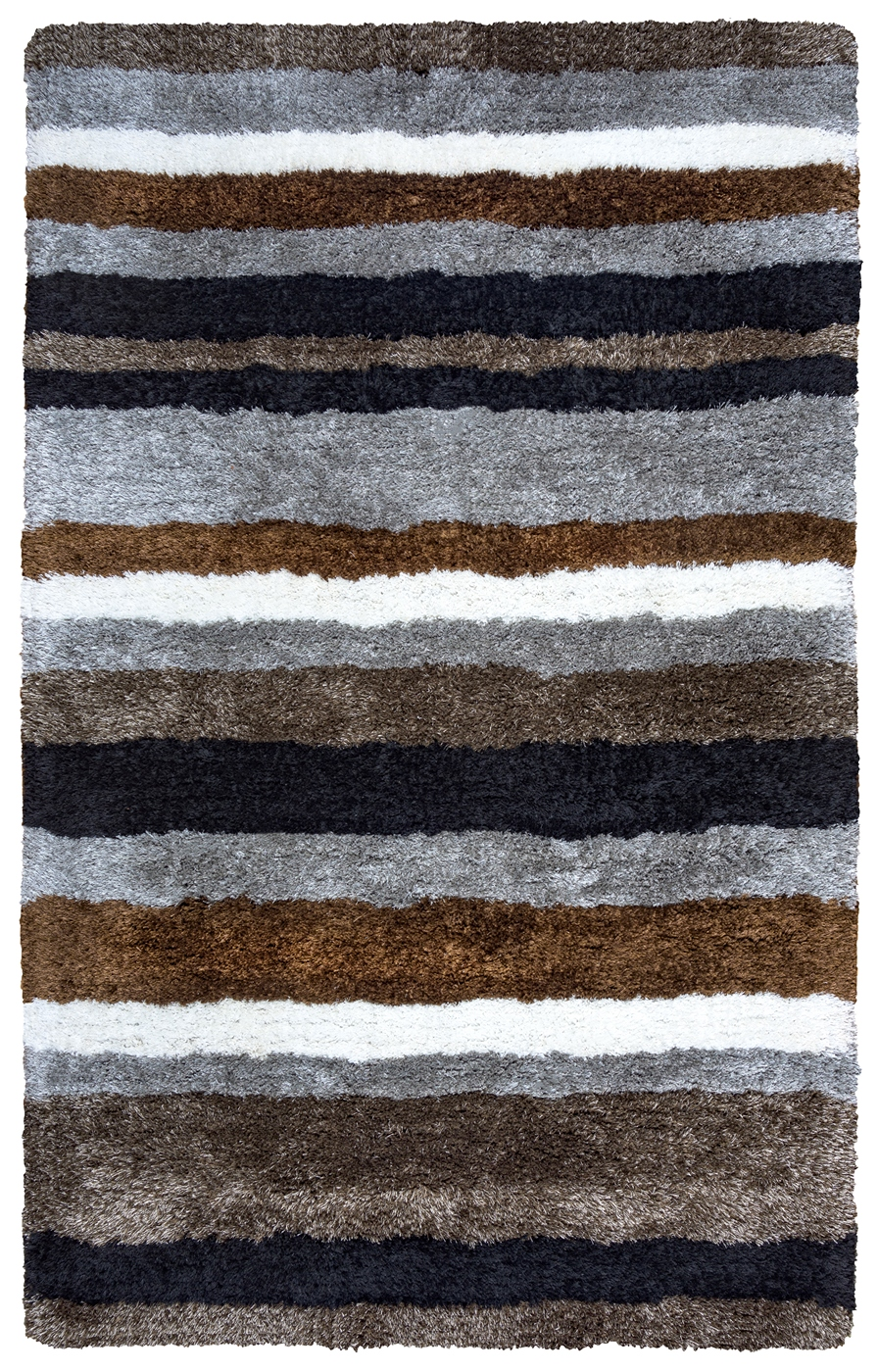Commons Multi Stripe Pattern Area Rug In Gray Brown Black