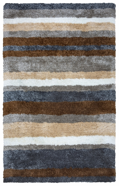 Commons Multi Stripe Pattern Area Rug In Grey Blue Brown White 9 X 12