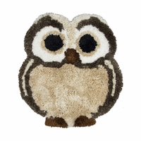 "Commons Soft Shag Kid Shapes Area Rug 42 x 41"" Inches Brown Beige Tan Owl Youth"