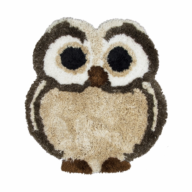 """Commons Soft Shag Kid Shapes Area Rug 42 x 41"""" Inches Brown Beige Tan Owl Youth"""