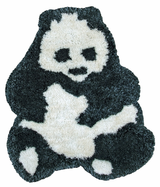 "Commons Soft Shag Kids Shapes Area Rug 35 x 42"" Inches White Black Panda Youth"
